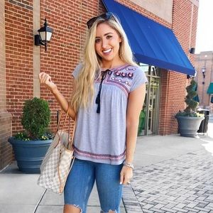 Tops - Grey tassel top